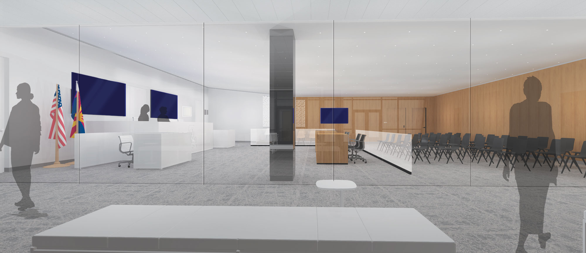 rendering of new trial courtroom