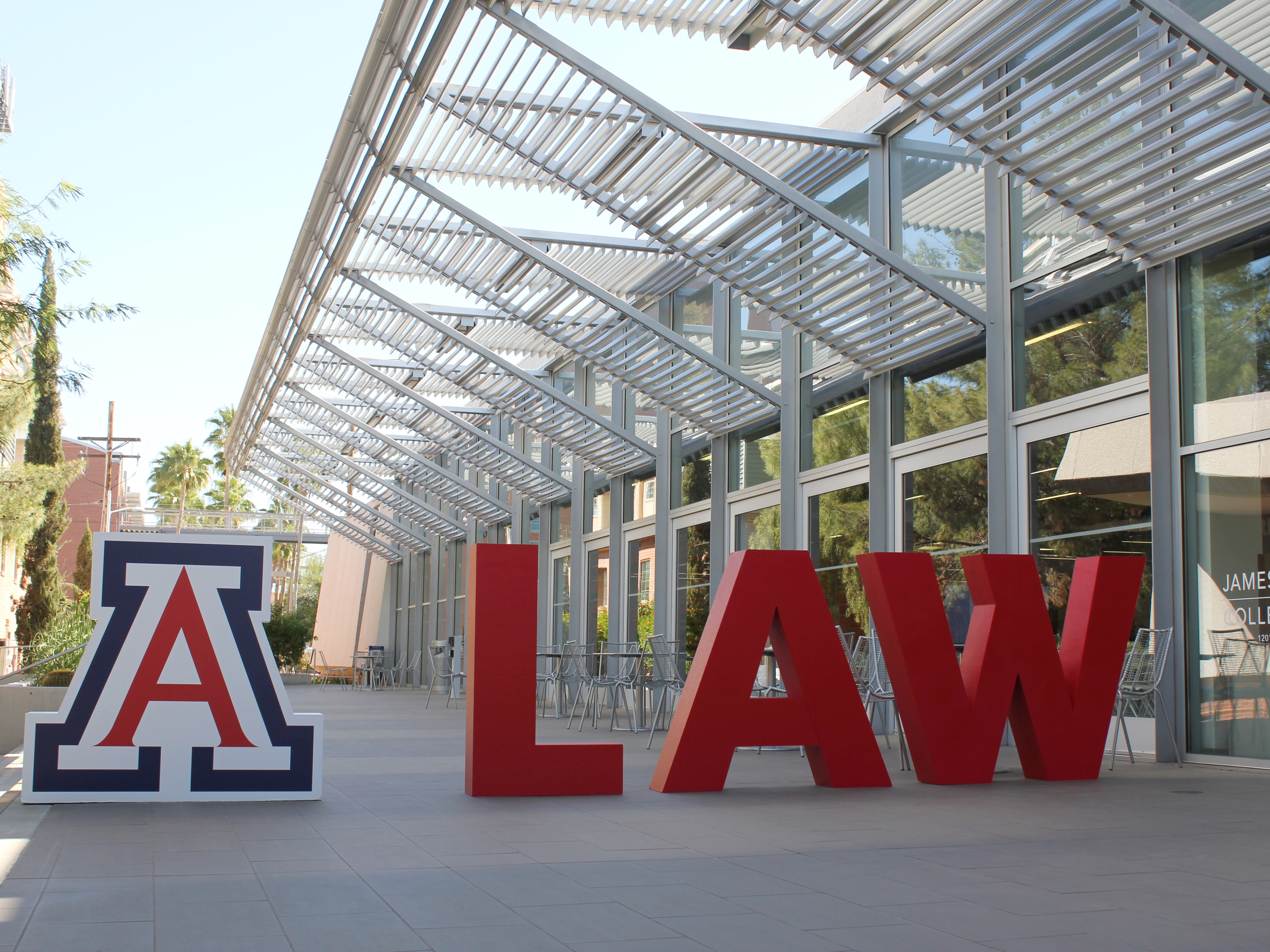 A LAW letters in Arizona Law courtyard