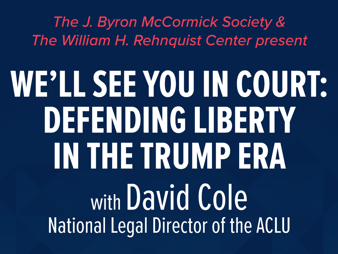 McCormick Lecture 2020 with David Cole