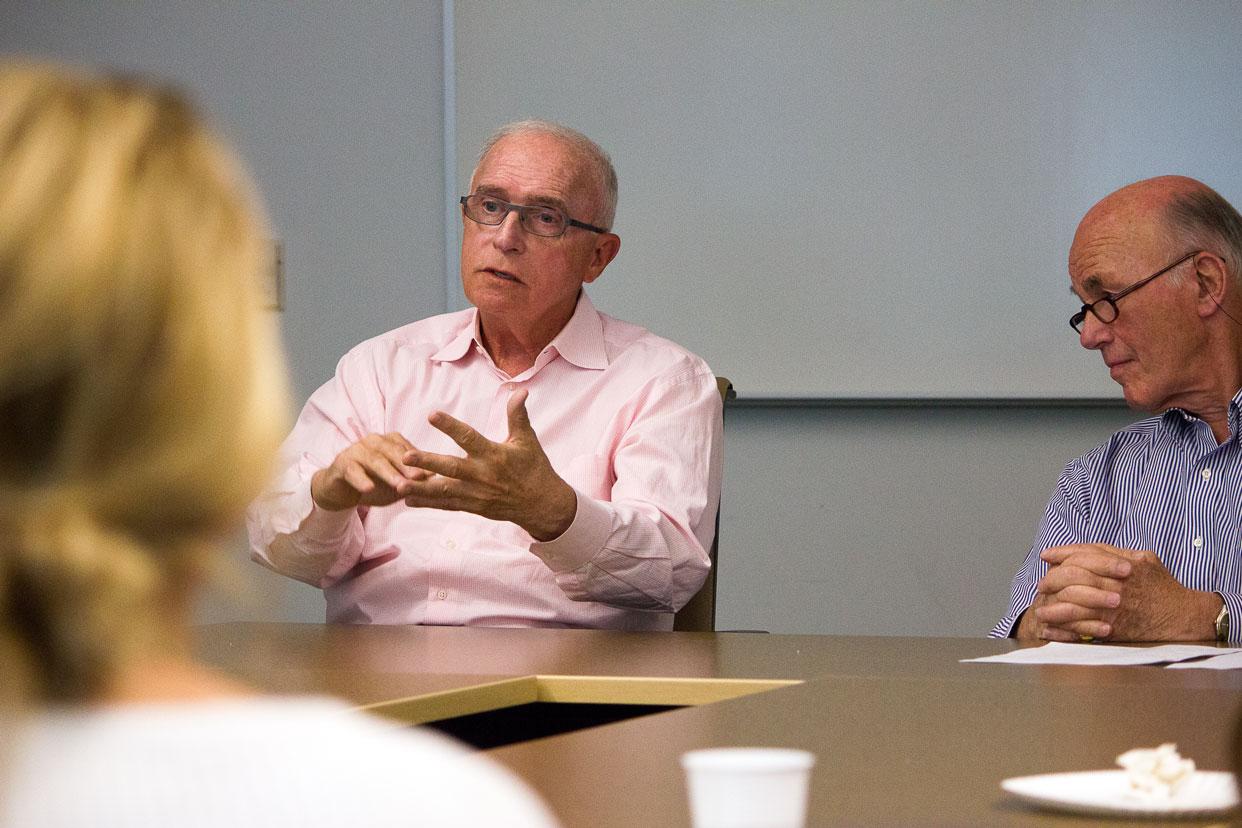 Wesley von Schack joins professor Bob Mundheim during 2016 series