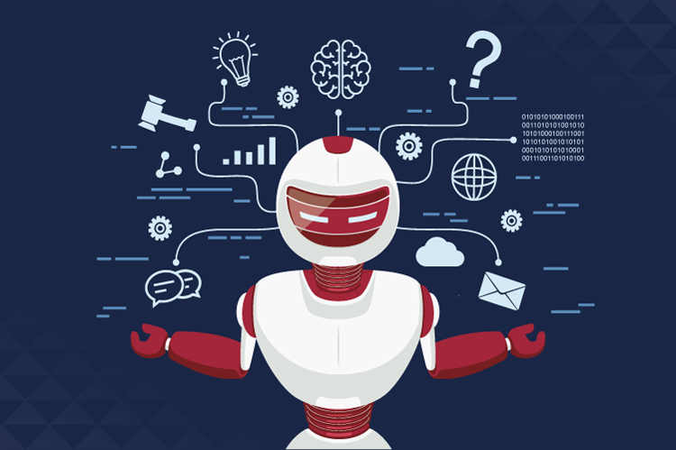 Illustration of a white and red robot juggling icons representing various industries