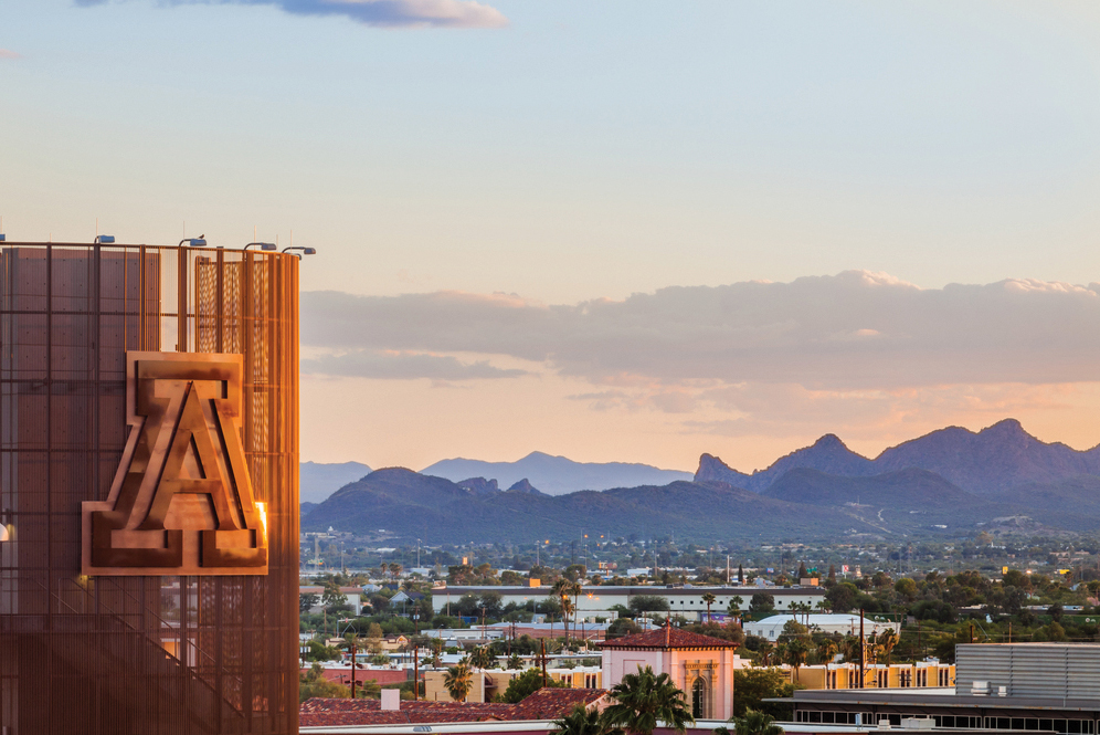 University of Arizona football stadium at sunset