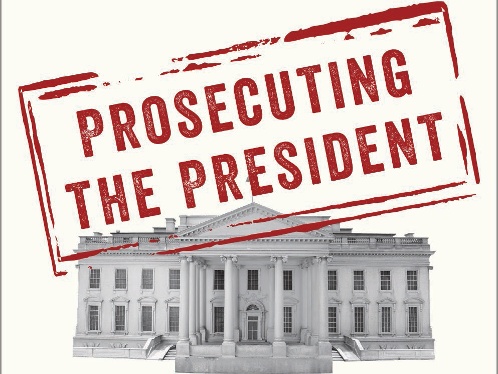 Prosecuting the President by Andrew Coan book cover w/ image of the White House with the book title stamped over it