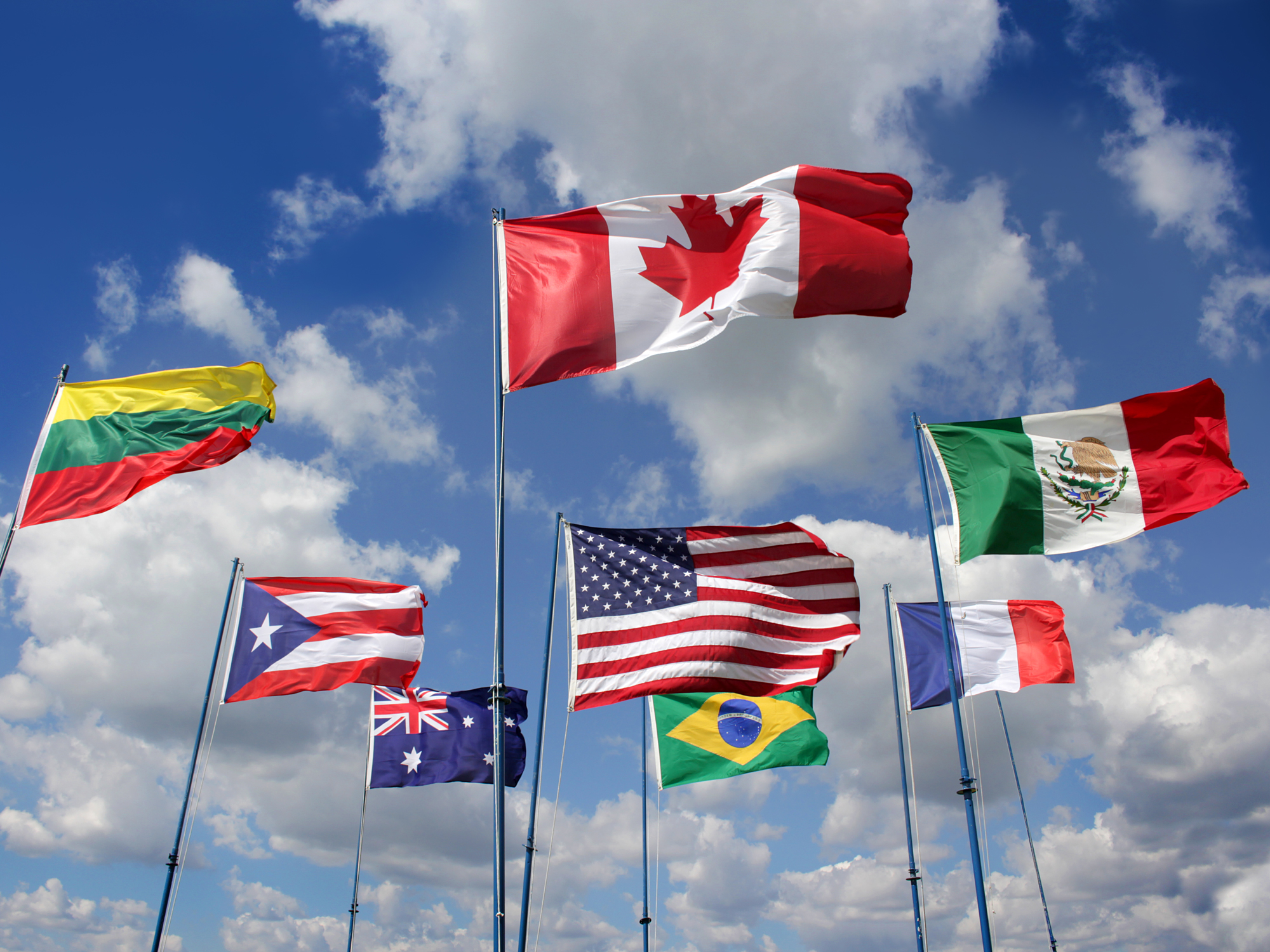 Country flags, including those of the U.S., Mexico and Canada