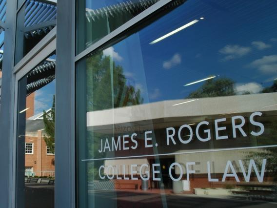 Exterior view of the front entrance to the James E. Rogers College of Law