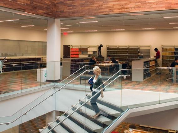 Female student descends the stairs of the University of Arizona Law Library