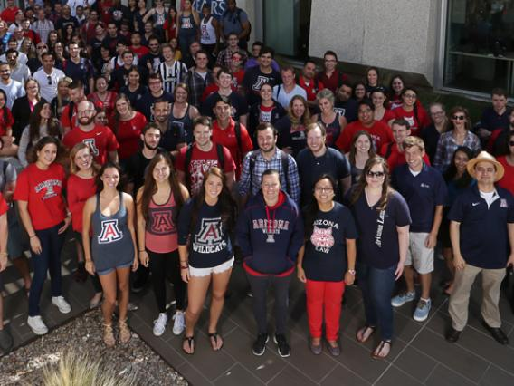 University of Arizona Law student group at Homecoming outside the school
