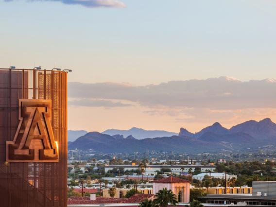 University of Arizona football stadium at sunset