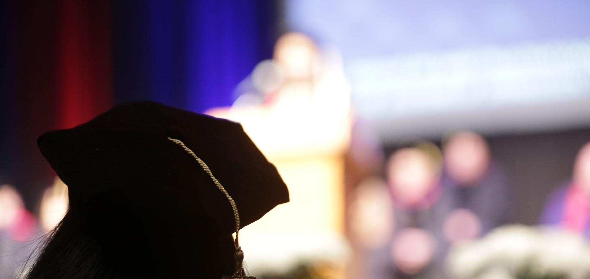Law school graduate sitting in the convocation ceremony