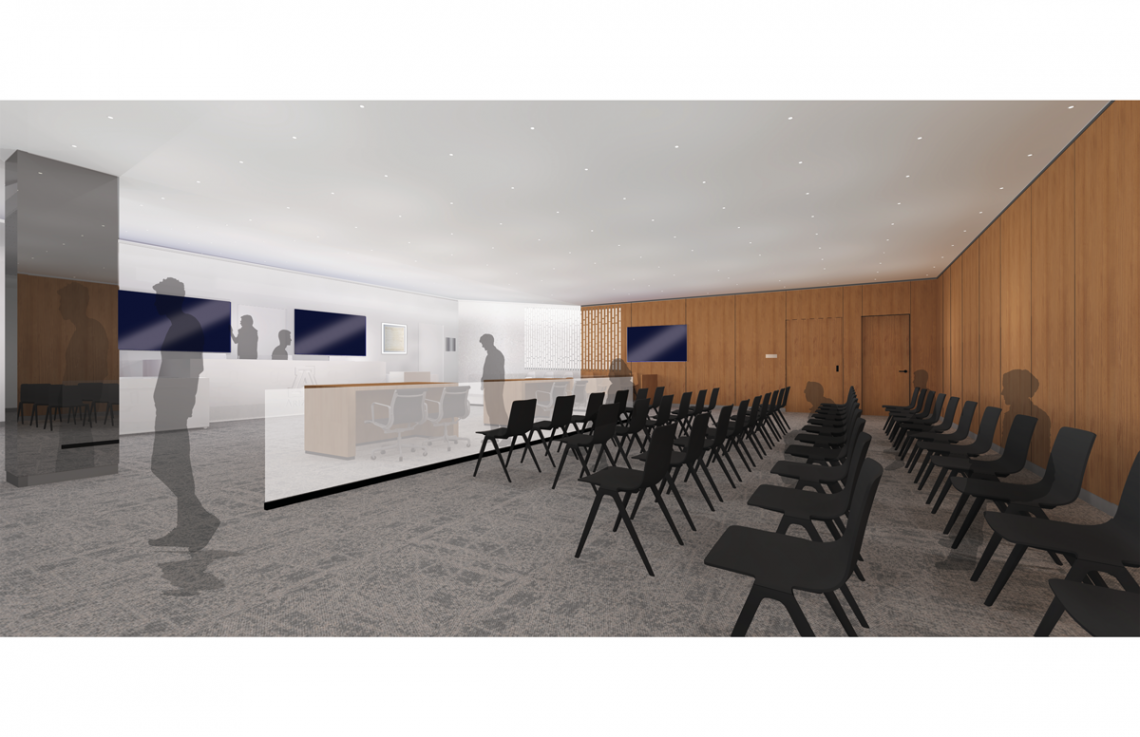 Architectural rendering of a renovated trial courtroom space at the University of Arizona James E. Rogers College of Law