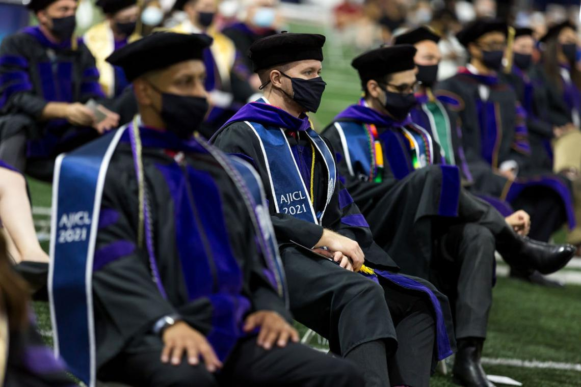 Students sitting at 2021 Arizona Law commencement
