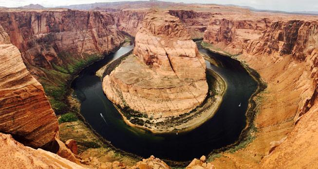 Aerial view of Horseshoe Bend in the Grand Canyone