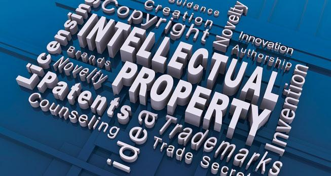 Word cloud with terms related to intellectual property