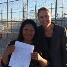 Law student with deportation defense client