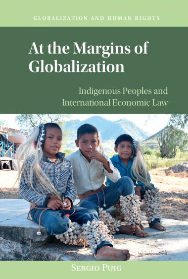 """Book cover for """"At the Margins of Globalization"""" by Sergio Puig with photo of three young indigenous boys"""