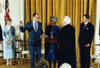 William Rehnquist being sworn in as a United States Supreme Court justice