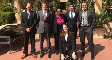 The students, along with clinic director Willie Jordan-Curtis, outside the 9th Circuit's Pasadena, California courthouse.