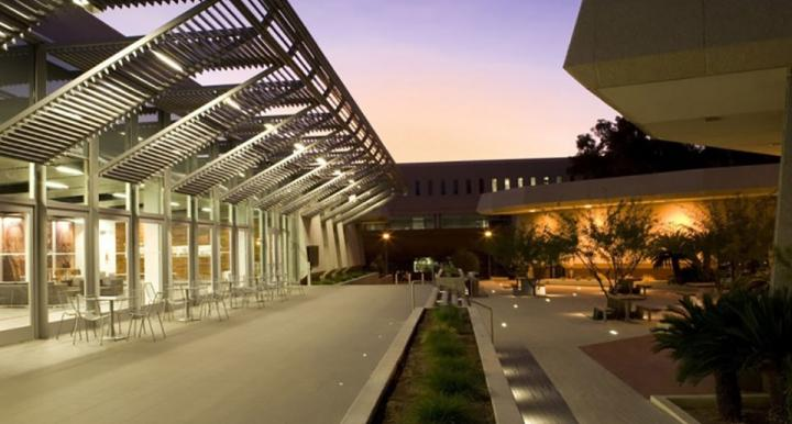 College of Law exterior at dusk