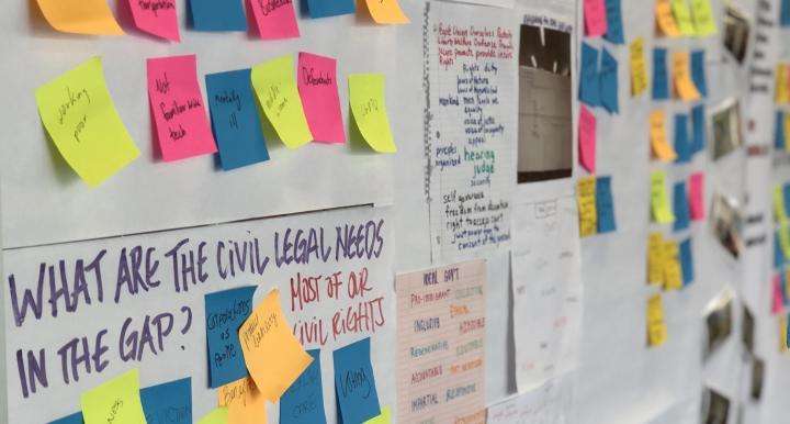 Post it notes in use for an Innovation for Justice project at the University of Arizona