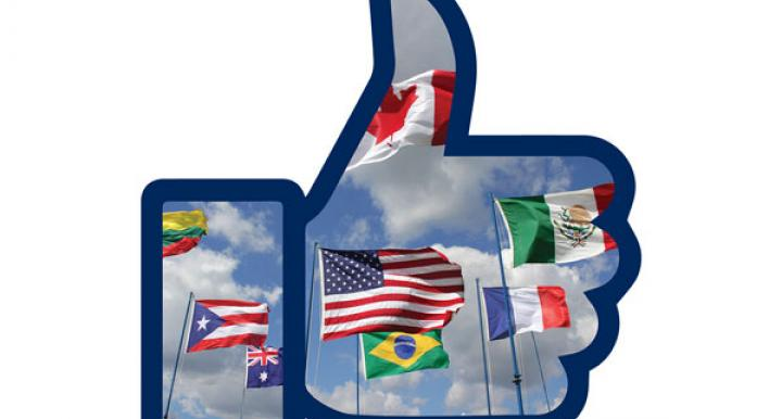Facebook thumbs up icon filled with international flags