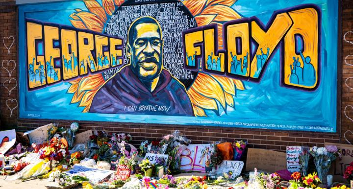 Mural memorializing George Floyd and other victims of police brutality