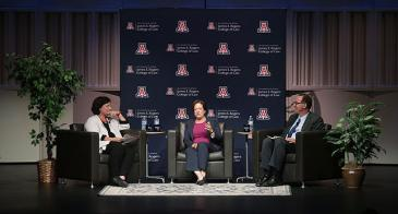 <p>(L to R) Dean Emeritus Toni Massaro, Associate Justice Elena Kagan, and Dean Marc Miller at the 37th McCormick Lecture on Aug. 31, 2016. (<em>Photo: David Sanders/University of Arizona Law</em>)</p>