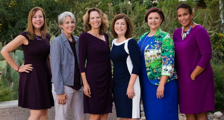 L to R: New Director of Legal Writing Susan Salmon, joined by new faculty Joy Herr-Cardillo, Diana Simon, Tessa Dysart, Carolyn Williams, and Sylvia Lett. <em>Photo: Molly Condit/University of Arizona Law</em>.