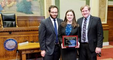 (L to R) Jean Paul Barnard, Elizabeth Smiley, and Matt Ashton went undefeated in their regional to advance to the National Trial Competition. Out of the nearly 300 teams that competed at regionals across the U.S., only 29 qualify for nationals, putting Arizona Law in the top 10 percent of teams in the country.